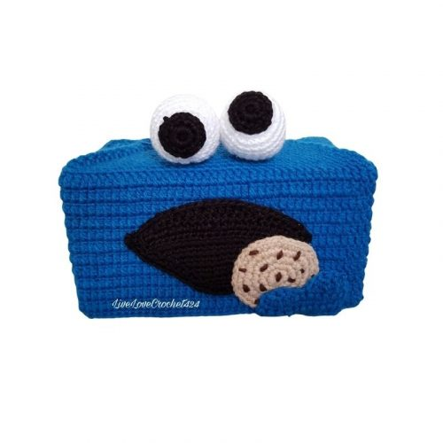 blue monster tissue box cover pattern