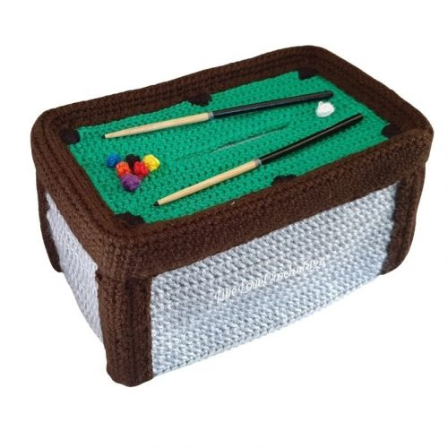 pool table tissue box cover pattern